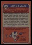 1973 Topps #188  Norm Evans  Back Thumbnail