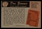 1955 Bowman #65  Don Zimmer  Back Thumbnail