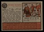 1962 Topps #116 GRN Herb Score  Back Thumbnail