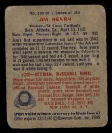 1949 Bowman #190  Jim Hearn  Back Thumbnail