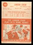 1963 Topps #45  Lindon Crow  Back Thumbnail