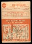 1963 Topps #166  Rod Breedlove  Back Thumbnail
