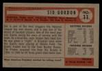 1954 Bowman #11  Sid Gordon  Back Thumbnail