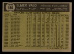 1961 Topps #186 ERR Elmer Valo  Back Thumbnail