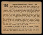 1938 Gum Inc. Horrors of War #102   Chinese Guerillas Wreck Supply Train Back Thumbnail