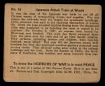 1938 Gum Inc. Horrors of War #16   Japanese Attack Train at Wusih Back Thumbnail