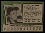 1971 Topps #372  Lew Krausse  Back Thumbnail