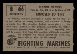1953 Topps Fighting Marines #66   Exposed To Fire Back Thumbnail