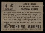 1953 Topps Fighting Marines #67   Dodging Bullets Back Thumbnail
