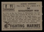 1953 Topps Fighting Marines #91   The Revolutionary War Back Thumbnail