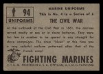 1953 Topps Fighting Marines #94   The Cival War Back Thumbnail