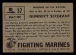 1953 Topps Fighting Marines #37   Gunnery Sergeant Back Thumbnail