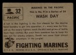 1953 Topps Fighting Marines #32   Wash Day Back Thumbnail