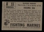 1953 Topps Fighting Marines #55   Raging Sea Back Thumbnail