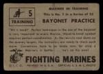 1953 Topps Fighting Marines #5   Bayonet Practice Back Thumbnail