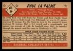 1953 Bowman B&W #19  Paul LaPalme  Back Thumbnail