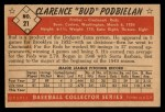 1953 Bowman B&W #21  Clarence 'Bud' Podbielan  Back Thumbnail