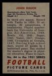 1951 Bowman #44  John Rauch  Back Thumbnail