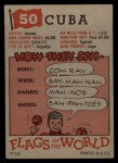 1956 Topps Flags of the World #50   Cuba Back Thumbnail