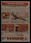 1956 Topps Round Up #41  Daniel Boone   Back Thumbnail