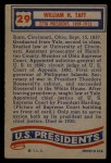 1956 Topps U.S. Presidents #29  William H. Taft  Back Thumbnail