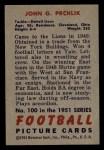 1951 Bowman #100  John Prchlik  Back Thumbnail