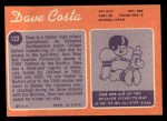 1970 Topps #122  Dave Costa  Back Thumbnail