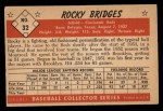 1953 Bowman B&W #32  Rocky Bridges  Back Thumbnail
