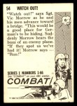 1964 Donruss Combat #54   Watch Out! Back Thumbnail