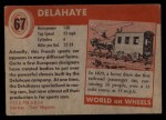 1954 Topps World on Wheels #67   Delahaye Back Thumbnail