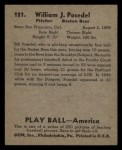 1939 Play Ball #121  Bill Posedel  Back Thumbnail