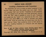 1941 Gum Inc Uncle Sam #57   Loading Submarine With Torpedoes Back Thumbnail