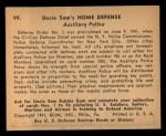 1941 Gum Inc Uncle Sam #99   Auxiliary Police Back Thumbnail