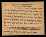 1941 Gum Inc Uncle Sam #109   Auxiliary Coast Guard Back Thumbnail
