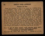 1941 Gum Inc Uncle Sam #48   Planes At Sea Back Thumbnail