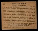 1941 Gum Inc Uncle Sam #68   Laying Smoke Screen Back Thumbnail