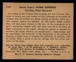 1941 Gum Inc Uncle Sam #119   Civilian Pilot Reserve Back Thumbnail