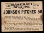1961 Nu-Card Scoops #440   -   Walter Johnson  Johnson Pitches 56 Scoreless Innings Back Thumbnail