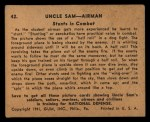 1941 Gum Inc Uncle Sam #42   Stunts In Combat Back Thumbnail