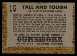 1958 Topps TV Westerns #15   Tall and Tough  Back Thumbnail