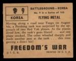 1950 Topps Freedoms War #9   Flying Metal   Back Thumbnail