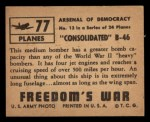 1950 Topps Freedoms War #77   Consolidate B-46 Back Thumbnail