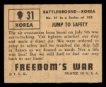 1950 Topps Freedoms War #31   Jump to Safety Back Thumbnail