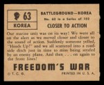 1950 Topps Freedoms War #63   Closer to Action Back Thumbnail