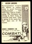 1964 Donruss Combat #7   Recon Landing Back Thumbnail