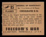 1950 Topps Freedoms War #85   -    Consolidated B-36   Back Thumbnail