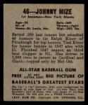 1948 Leaf #46  Johnny Mize  Back Thumbnail