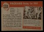 1954 Topps World on Wheels #133   Packard Racing Car 1904 Back Thumbnail