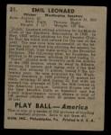 1939 Play Ball #21  Dutch Leonard  Back Thumbnail