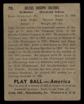 1939 Play Ball #78  Julius Solters  Back Thumbnail